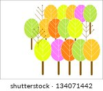 colored spring trees vector... | Shutterstock .eps vector #134071442