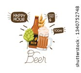 bottle of beer and glass... | Shutterstock .eps vector #1340752748