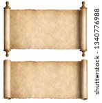 Small photo of Vintage paper scrolls set isolated on white