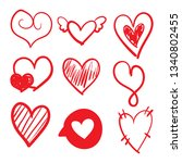 set of doodles hearts. grunge...   Shutterstock .eps vector #1340802455