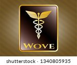 gold emblem or badge with...   Shutterstock .eps vector #1340805935