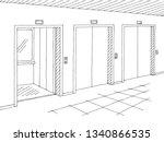 corridor graphic black white...   Shutterstock .eps vector #1340866535