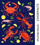seafood set in cartoon style.... | Shutterstock .eps vector #1340894675