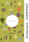 woodland forest animals vector...