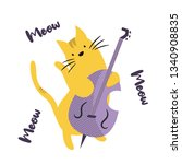 funny cat playing contrabass.... | Shutterstock .eps vector #1340908835
