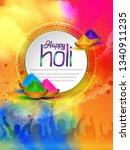 happy holi vector elements for... | Shutterstock .eps vector #1340911235