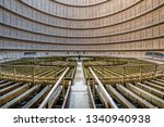 Charleroi, Belgium - 02 13 2019: Interior architecture view of a abandoned cooling tower in power plant of charleroi in Belgium