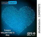 valentine's day circuit heart.... | Shutterstock .eps vector #134099372