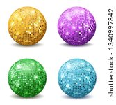 color disco balls. realistic... | Shutterstock .eps vector #1340997842