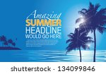 beach and palm tree background. ... | Shutterstock .eps vector #134099846