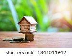 house model on money coins for... | Shutterstock . vector #1341011642