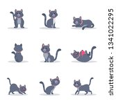 Stock vector cute grey cats vector color illustrations set playful and naughty kitten in different poses flat 1341022295
