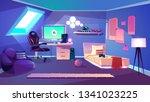 teenager boy cozy room on attic ... | Shutterstock .eps vector #1341023225