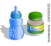 baby bottle and baby organic...   Shutterstock . vector #1341033152