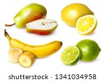 set of four fruits in realistic ... | Shutterstock .eps vector #1341034958