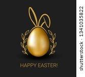 vector easter golden egg with... | Shutterstock .eps vector #1341035822