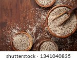 Stock photo mixed quinoa in bowl on wooden kitchen table top view healthy and diet superfood product 1341040835