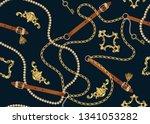 baroque print with golden... | Shutterstock .eps vector #1341053282