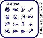 lake icon set. 16 filled lake... | Shutterstock .eps vector #1341058655