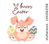 easter concept. easter bunny... | Shutterstock .eps vector #1341062558