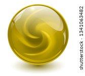yellow glass sphere  3d marble... | Shutterstock .eps vector #1341063482