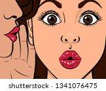 gossip girl whispering in ear... | Shutterstock .eps vector #1341076475