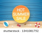 hot summer sale banner with... | Shutterstock .eps vector #1341081752