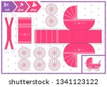 cut and glue a baby carriage.... | Shutterstock .eps vector #1341123122