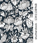 the flowers blue and white | Shutterstock . vector #1341138968