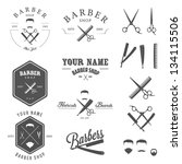Set of vintage barber shop logo, labels, badges and design element