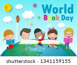 world book day  kid reading...   Shutterstock .eps vector #1341159155