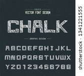 chalk cartoon font and alphabet ... | Shutterstock .eps vector #1341221555