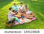 group of young attractive... | Shutterstock . vector #134123828