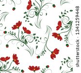 seamless vector floral pattern. ... | Shutterstock .eps vector #1341259448
