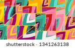 abstract collage asymmetric... | Shutterstock .eps vector #1341263138