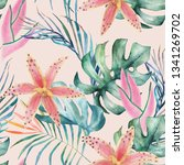 tropical seamless pattern with... | Shutterstock . vector #1341269702
