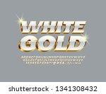vector white and gold alphabet... | Shutterstock .eps vector #1341308432