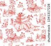 seamless pattern in chinoiserie ... | Shutterstock .eps vector #1341317228