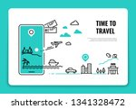 tourism line concept. travel... | Shutterstock .eps vector #1341328472