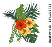 tropical plants and flowers ...   Shutterstock .eps vector #1341335735
