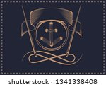drawn button and needles in... | Shutterstock .eps vector #1341338408