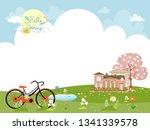 cute cartoonn spring landscape... | Shutterstock .eps vector #1341339578