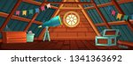 the interior of the attic. an...   Shutterstock .eps vector #1341363692