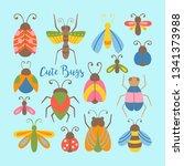 cute bugs and beetles set.... | Shutterstock .eps vector #1341373988