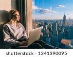 caucasian female digital nomad... | Shutterstock . vector #1341390095