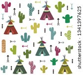 tent and cactus   Shutterstock .eps vector #1341397625