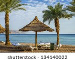 sandy beach in eilat   famous... | Shutterstock . vector #134140022