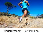 woman running on nature trail... | Shutterstock . vector #134141126