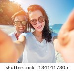 young and cheerful couple... | Shutterstock . vector #1341417305