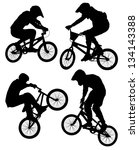 cycling bmx silhouette on white ... | Shutterstock . vector #134143388